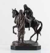 """Scultura in bronzo """"Due arabi a cavallo"""", XIX-XX secolo."""