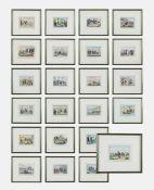 """Gruppo di ventitrè stampe colorate raffiguranti """"Dominazione Francese in Algeria"""", metà XIX"""