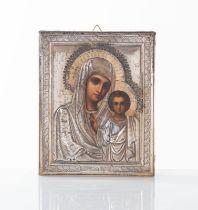 """Russia - XIX secolo, Icona raffigurante """"Madonna di Kazan""""."""