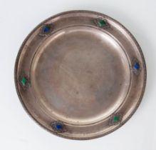 Stefani Bologna - Anni '30, Piatto circolare in argento con pietre dure.