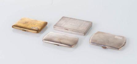 Italia - XX secolo, Lotto composto da tre scatoline in argento e una in ottone.