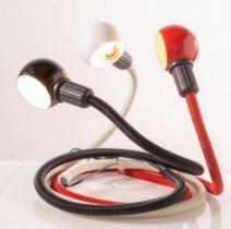 """Isao Hosoe per Valenti, Tre lampade da tavolo snodabili e completamente orientabili modello """"Hebi"""","""