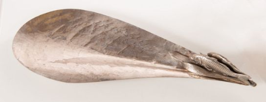 Vassoio in metallo argentato a tema marino, Anni '70.