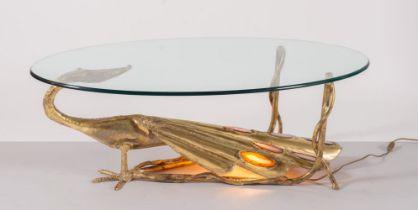 """Henri Fernandez, Tavolino-scultura """"Pavone"""", Produzione Francese - Anni '70."""