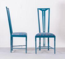 Produzione Giorgetti - Serie Gallery, Coppia di sedie con alto schienale, Anni '80.