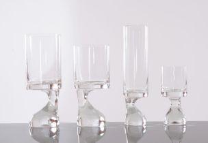 """Joe Colombo per Riedl, Servzio di bicchieri in vetro seire """"Smoke"""", Anni '70."""