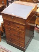 A Victorian rosewood Davenport with four drawers, 89cm high x 49cm wide x 56cm deep Condition