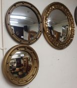 Three circular gilt mirrors (3) Condition Report: Available upon request
