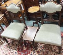 *A pair of Victorian parlour chairs, mahogany wine table and a small footstool (4) Condition Report: