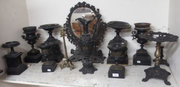 A cast iron mirror, brass candlestick and various marble garniture Condition Report: