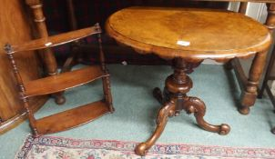 A Victorian walnut occasional table on a tripod carved base and a small three tier mahogany wall