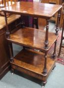 A Victorian walnut three tier what not with single drawer, 103cm high x 59cm wide x 43cm deep