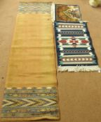 A terracotta ground runner, 233cm x 68cm wide, a small rug and a mat (3) Condition Report:
