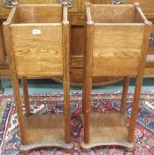 A pair of Arts and Crafts oak planters, 92cm high x 32cm wide x deep 32cm (2) Condition Report:
