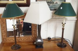 A pair of mahogany column table lamps and a modern lamp (3) Condition Report:
