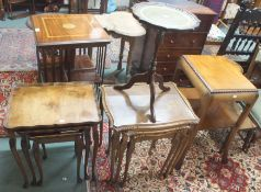 Two walnut nest of tables, wine table and an occasional table (4) Condition Report: Available upon