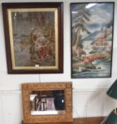 A framed tapestry, an oriental framed woolwork and a wall mirror (3) Condition Report: Available