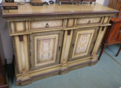 A sideboard with Greek key design frieze with two painted drawers over two doors, 110cm high x 160cm