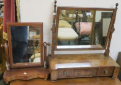 An inlaid mahogany toilet mirror with three drawers and a smaller toilet mirror (2) Condition