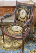 A FRENCH EMPIRE STYLE MAHOGANY OPEN ELBOW CHAIR by Loidrault of Paris the square back with half