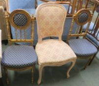 A pair of gilt parlour chairs with blue upholstery and a French style chair (3) Condition Report: