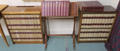 A mahogany bookstand and a pair of mahogany bookcases with Encyclopedia Britannica and childrens