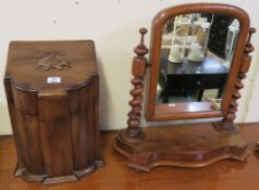 A mahogany toilet mirror and a reproduction mahogany knife box (2) Condition Report: Available
