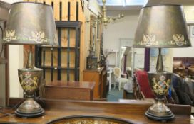 A pair of table lamps with heraldic design (2) Condition Report: Available upon request