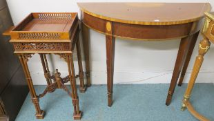 A mahogany inlaid demi lune table, 73cm high x 90cm wide x 38cm deep and a reproduction