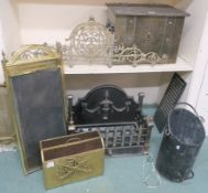 A cast iron open fire, firegrate, coal box, firescreen etc Condition Report: Available upon request