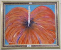 An oil on board of a red flower signed R Anderson Condition Report: Available upon request