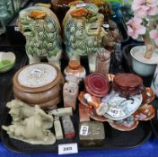 A collection of Chinese items including a pair of glazed fo dogs, carved stone seals, Kutani pot and