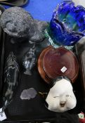 A pale lilac moulded glass bulldog, two Eskimo art birds and other items Condition Report: Available