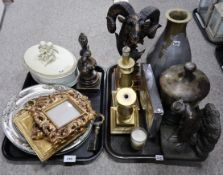 Assorted frames, a metal urn, a gilt resin rams heads, a metal vase and other items Condition