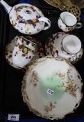Doulton Honesty pattern teawares including teapot, three cups, two saucers and three plates and