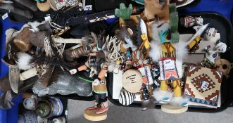 A collection of replica Native American ceremonial items and figures including example by
