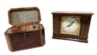 An Elliot clock, retailed by Edward, Glasgow and walnut teacaddy Condition Report: Available upon