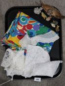 Brightly coloured cotton scarf, lace edges and Wade Whimsies Condition Report: Not available for