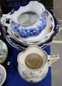 Two Crescent china blue and white washbowls, a Royal Albert Old Country Roses bowl, a Foley
