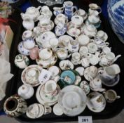 A collection of miniature ceramics including Hammersley, Wedgwood, Spode etc Condition Report: