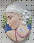 A Beswick 1930s Art Deco 'Hyacinth Girl' face mask, model 8187, length 30cm Condition Report: Nice