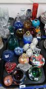 A collection of modern glassware including vases, tea light holders, a Heron glass paperweight etc