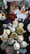 A collection of Moorland spongeware mugs, two Doulton figures, decorative glass vase, tubelined