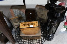 A pair of pillar candlestands, assorted book boxes, other boxes etc Condition Report: Not