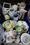 A Beswick figure The Frenchman, assorted crested china, a Carlton Man Hangman mug, assorted jugs etc