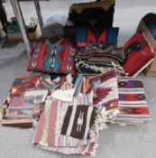 A collection of Native American cushions, chair pads, rugs and table covers Condition Report: Not
