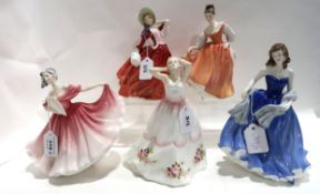 Five Royal Doulton figures including Elaine, Claire, Fair Lady, Moonlight Serenade and Autumn