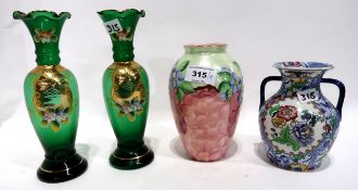 A Maling vase, a Copeland Spode vase, a pair of green vases Condition Report: Available upon