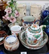 A pair of Satsuma vases, a small pot, a blue and white teabowl and other items Condition Report: