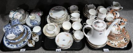 A Wedgwood blue and white transfer printed teaset, other tea and coffee wares including a